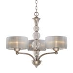 "Alexis Collection 3-Light 26"" Antique Silver Chandelier with Blown Crackled Glass 20008/3"