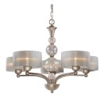 "Alexis Collection 5-Light 32"" Antique Silver Chandelier with Blown Crackled Glass 20009/5"