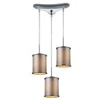 "Fabrique Collection 3-Light 8"" Polished Chrome Drum Pendant Silver Streak finish Fabric Shade 20042/3"