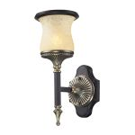 "Georgian Court Collection 1-Light 15"" Antique Brass Dark Umber Wall Sconce with Marbleized Amber Glass 2420/1"