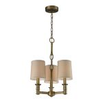 "Baxter Collection 3-Light 20"" Brushed Antique Brass Mini Chandelier with Beige Shades 31265/3"