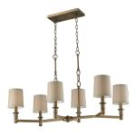 "Baxter Collection 6-Light 35"" Brushed Antique Brass Island Chandelier with Beige Shades 31267/6"