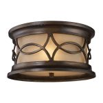 "Burlington Junction Collection 2-Light 12"" Hazelnut Bronze Outdoor Flush Mount with Amber Scavo Glass 41999/2"