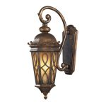 "Burlington Junction Collection 2-Light 23"" Hazelnut Bronze Outdoor Wall Lantern with Amber Scavo Glass 42001/2"