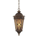 "Burlington Junction Collection 3-Light 24"" Hazelnut Bronze Outdoor Hanging Lantern with Amber Scavo Glass 42003/3"