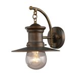 "Maritime Collection 1-Light 12"" Hazelnut Bronze Outdoor Wall Sconce with Seeded Blown Glass 42006/1"