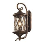 "Barrington Gate Collection 3-Light 28"" Hazelnut Bronze Outdoor Wall Lantern with Designer Water Glass 42032/3"