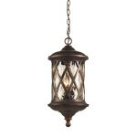 "Barrington Gate Collection 3-Light 24"" Hazelnut Bronze Outdoor Hanging Lantern with Designer Water Glass 42033/3"