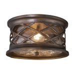 "Barrington Gate Collection 2-Light 12"" Hazelnut Bronze Outdoor Ceiling Light with Designer Water Glass 42037/2"
