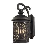 "Tuscany Coast Collection 2-Light 18"" Weathered Charcoal Outdoor Wall Lantern with Clear Seeded Glass 42061/2"