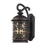 "Tuscany Coast Collection 3-Light 22"" Weathered Charcoal Outdoor Wall Lantern with Clear Seeded Glass 42062/3"