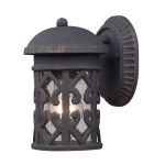 "Tuscany Coast Collection 1-Light 9"" Weathered Charcoal Outdoor Wall Lantern with Clear Seeded Glass 42065/1"