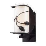 "Hedera Collection 1-Light 11"" Weathered Charcoal Outdoor Wall Sconce with White Glass 42070/1"
