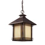 "Blackwell Collection 1-Light 18"" Hazelnut Bronze Outdoor Hanging Lantern with Cream Art Glass 42103/1"