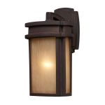 "Sedona Collection 1-Light 13"" Clay Bronze Outdoor Wall Lantern with Caramel Beige Glass 42140/1"