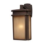 "Sedona Collection 1-Light 16"" Clay Bronze Outdoor Wall Lantern with Caramel Beige Glass 42141/1"