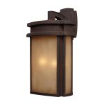 "Sedona Collection 2-Light 20"" Clay Bronze Outdoor Wall Lantern with Caramel Beige Glass 42142/2"