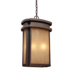 "Sedona Collection 2-Light 18"" Clay Bronze Outdoor Hanging Lantern with Caramel Beige Glass 42143/2"
