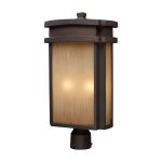 "Sedona Collection 2-Light 21"" Clay Bronze Outdoor Post Lantern with Caramel Beige Glass 42144/2"
