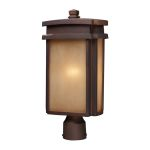 "Sedona Collection 1-Light 18"" Clay Bronze Outdoor Post Lantern with Caramel Beige Glass 42145/1"
