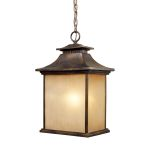 "San Gabriel Collection 1-Light 18"" Hazelnut Bronze Outdoor Hanging Light with Amber Lined Frosted Glass 42183/1"