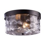 "Grand Aisle Collection 2-Light 11"" Weathered Charcoal Outdoor Flush Mount with Water Glass 42253/2"