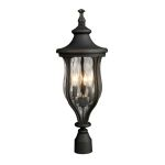 "Grand Aisle Collection 3-Light 26"" Weathered Charcoal Outdoor Post Mount Lantern with Water Glass 42255/3"