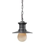"Maritime Collection 1-Light 10"" Graphite Outdoor Hanging Pendant with Frosted Glass 42407/1"