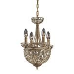 "Elizabethan Collection 5-Light 17"" Dark Bronze Crystal Mini Chandelier 5973/4+1"