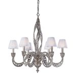"Renaissance Collection 6-Light 29"" Sunset Silver 32% Lead Crystal Chandelier with Fabric Shades 6236/6"