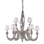 "Renaissance Collection 9-Light 34"" Sunset Silver 32% Lead Crystal Chandelier with Fabric Shades 6237/6+3"