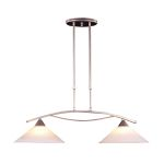 "Elysburg Collection 2-Light 31"" Satin Nickel Island Light with White Marbleized Glass 6501/2"