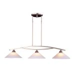"Elysburg Collection 3-Light 43"" Satin Nickel Island Light with White Marbleized Glass 6502/3"