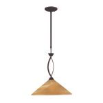 "Elysburg Collection 1-Light 16"" Aged Bronze Pendant with Tea Stained Brown Swirl Glass 6550/1"