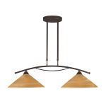 "Elysburg Collection 2-Light 31"" Aged Bronze Island Light with Tea Stained Brown Swirl Glass 6551/2"