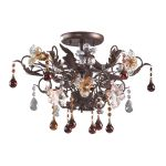 "Cristallo Fiore Collection 3-Light 19"" Deep Rust Crystal Semi-Flush Ceiling Mount 7044/3"