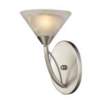 "Elysburg Collection 1-Light 7"" Satin Nickel Wall Sconce with White Marbleized Glass 7630/1"