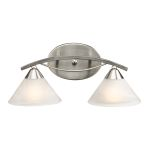 "Elysburg Collection 2-Light 18"" Satin Nickel Bathroom Vanity Fixture with White Marbleized Glass 7631/2"
