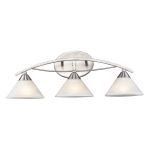 "Elysburg Collection 3-Light 25"" Satin Nickel Bathroom Vanity Fixture with White Marbleized Glass 7632/3"
