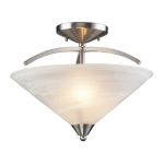 "Elysburg Collection 2-Light 16"" Satin Nickel Semi-Flush Mount with White Marbleized Glass 7633/2"