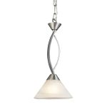 "Elysburg Collection 1-Light 7"" Satin Nickel Mini Pendant with White Marbleized Glass 7634/1"