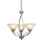 "Elysburg Collection 3-Light 20"" Satin Nickel Mini Chandelier with White Marbleized Glass 7635/3"