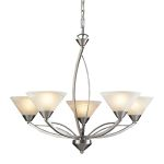 "Elysburg Collection 5-Light 28"" Satin Nickel Chandelier with White Marbleized Glass 7637/5"