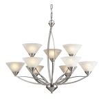 "Elysburg Collection 9-Light 34"" Satin Nickel Chandelier with White Marbleized Glass 7638/6+3"