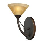 "Elysburg Collection 1-Light 7"" Aged Bronze Wall Sconce with Tea Stained Brown Swirl Glass 7640/1"