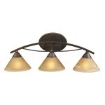 "Elysburg Collection 3-Light 25"" Aged Bronze Bathroom Vanity Fixture with Tea Stained Brown Swirl Glass 7642/3"