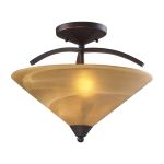 "Elysburg Collection 2-Light 16"" Aged Bronze Semi-Flush Mount with Tea Stained Brown Swirl Glass 7643/2"