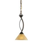 "Elysburg Collection 1-Light 7"" Aged Bronze Mini Pendant with Tea Stained Brown Swirl Glass 7644/1"