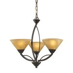 "Elysburg Collection 3-Light 20"" Aged Bronze Mini Chandelier with Tea Stained Brown Swirl Glass 7645/3"