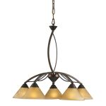 "Elysburg Collection 5-Light 25"" Aged Bronze Chandelier with Tea Stained Brown Swirl Glass 7646/5"